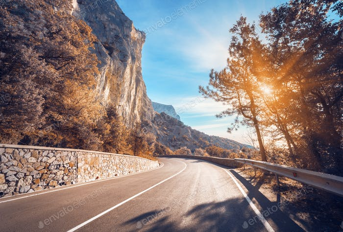 Asphalt road. Colorful landscape with beautiful winding mountain