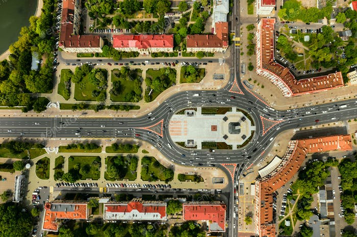 Top view of Victory square in Minsk.Bird's-eye view of the city of Minsk and victory square