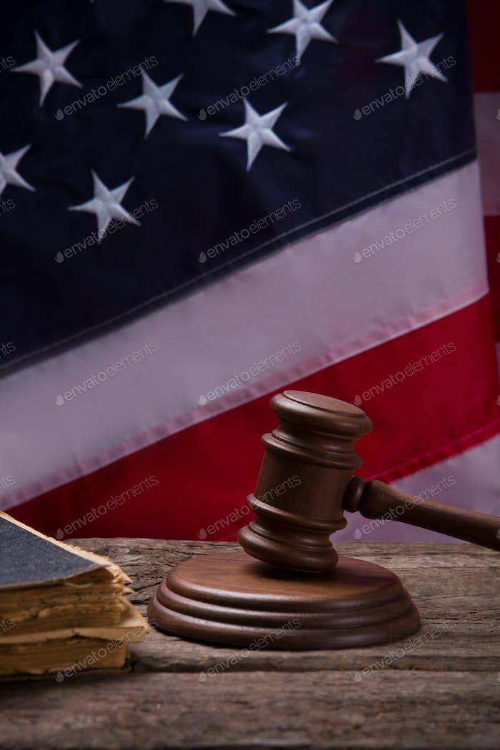 Gavel on American flag background