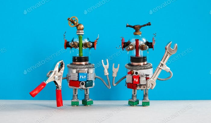 Two funny repairman robots with tools in their hands. Robotic characters with pliers hand wrench are