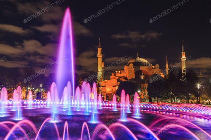 View of the evening fountain. Istanbul. Turkey.