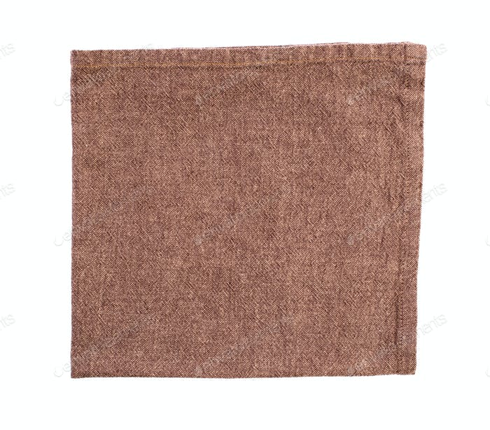 Brown cotton napkin isolated