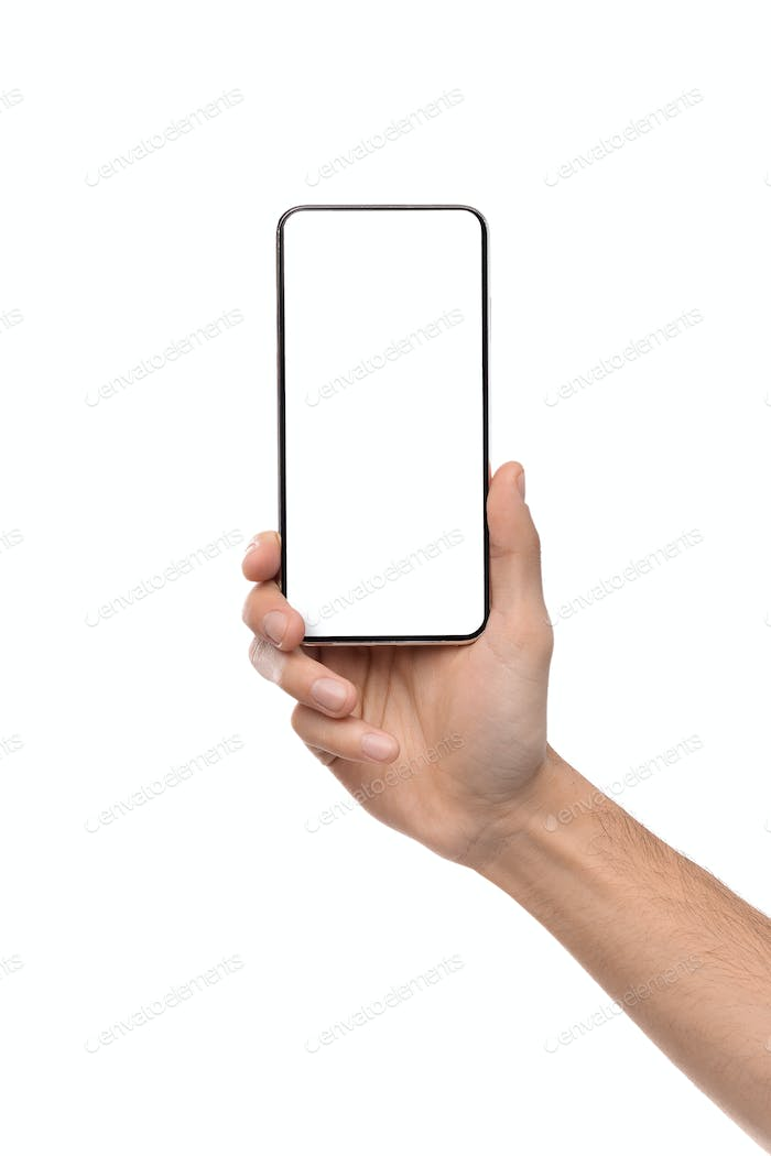 Hand holding modern cellphone with blank screen for mockup
