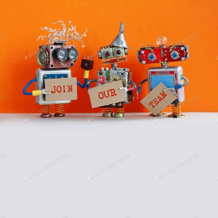 Robotic hiring recruitment concept. Three funny robots looking for a new assistant in company. Hr