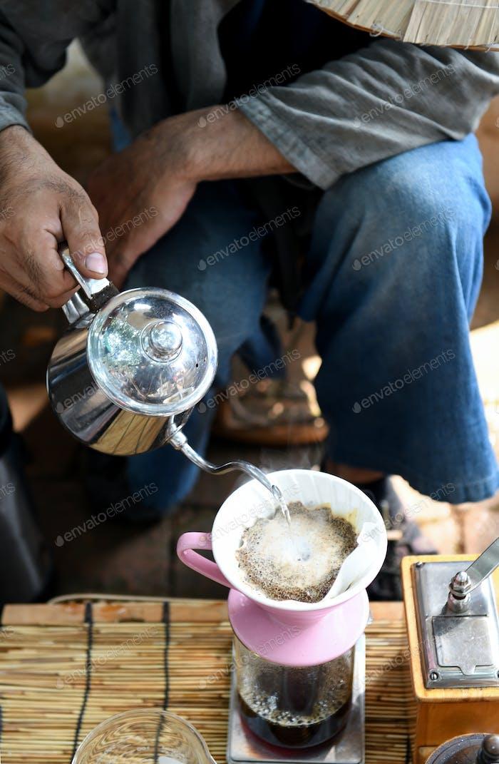 Drip coffee style.