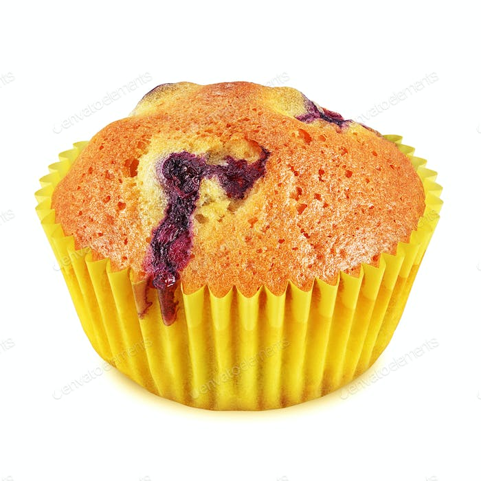 Muffin with berries isolated on white background