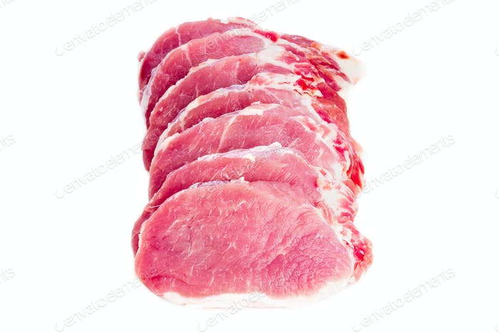 pork meat slices loin on white background, top view