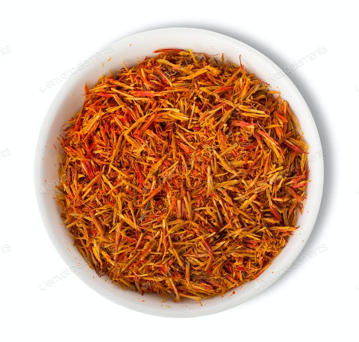 Saffron in plate isolated