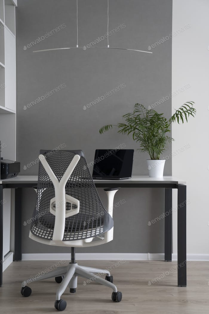 Modern interior of office space with daylight. Computer work place with modern furniture and perfect