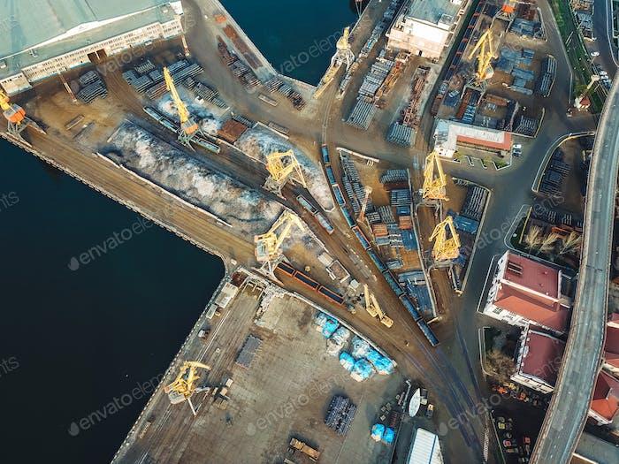 Sea port from a bird's-eye view. Odessa, Ukraine