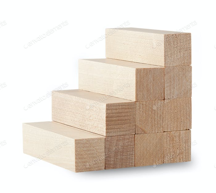 Stairs from the wooden bars