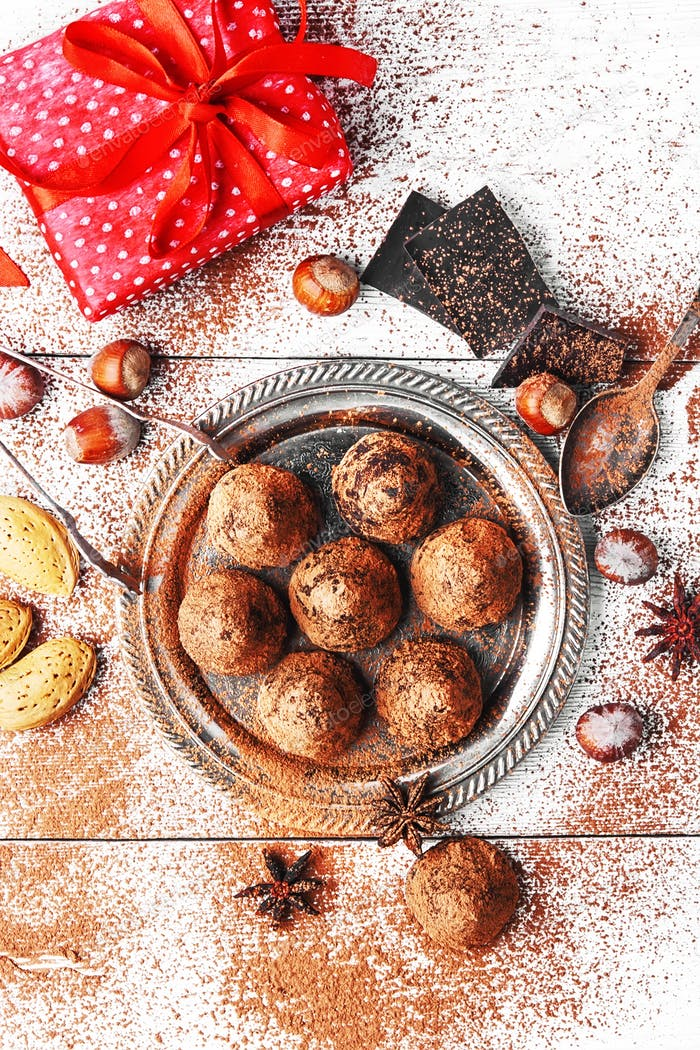 Chocolate truffles balls