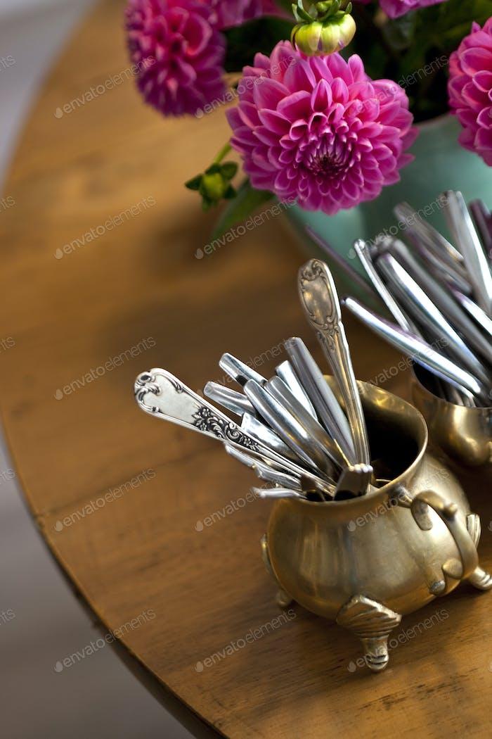 Dahlia and spoons