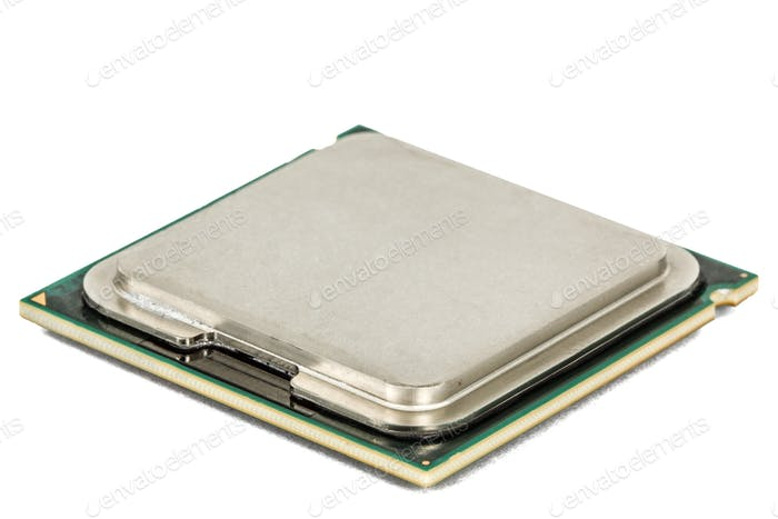 Computer processor, multicore CPU, isolated on white background