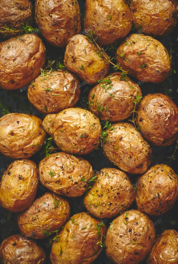 Oven baked whole potatoes with seasoning and herbs in metalic tray. Roasted potatoes in jackets