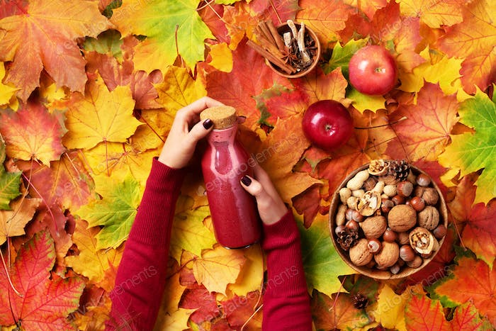 Autumn vegan and vegetarian food concept - apples, pomegranate, nuts, spices. Picnic time. Female