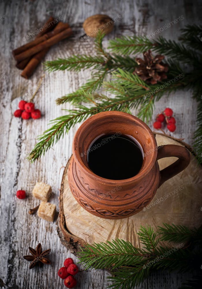 Winter drink in ceramic cup