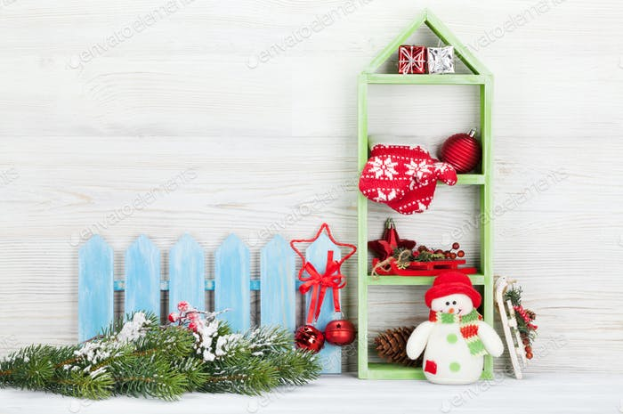 Christmas snowman and xmas decor