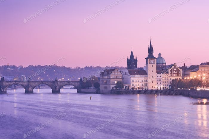 Prague at colorful sunrise
