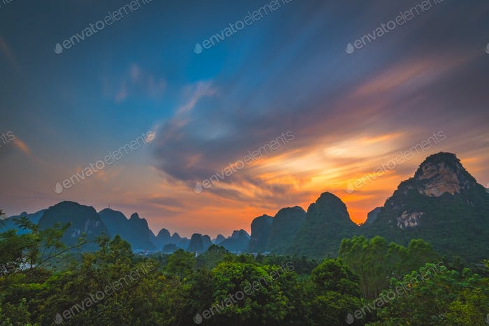 Yangshuo landscape panorama at dusk