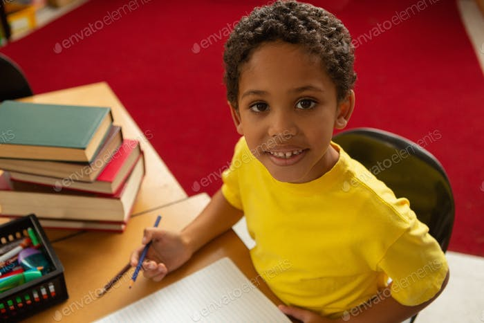 Mixed-race schoolboy looking at camera while studying at desk in a classroom