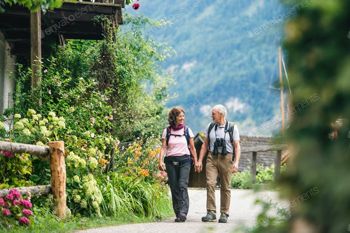 A senior pensioner couple with binoculars hiking, holding hands.
