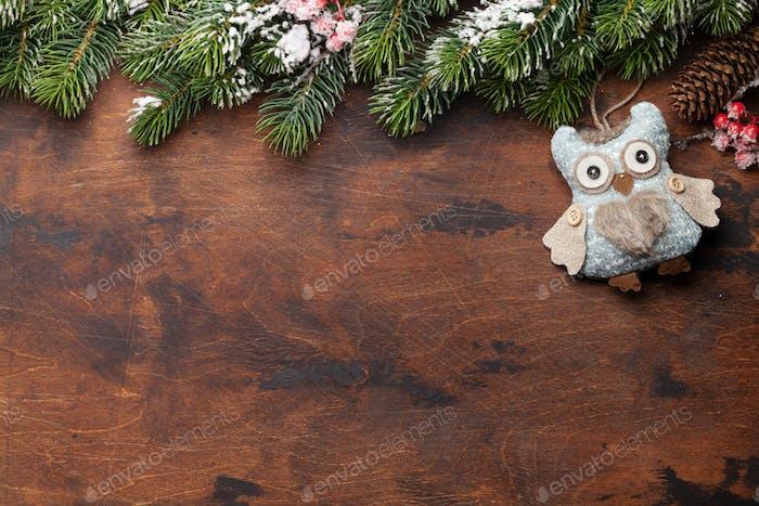 Christmas greeting card with fir tree and decor