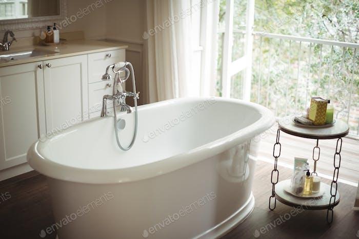 View of empty bathtub in bathroom