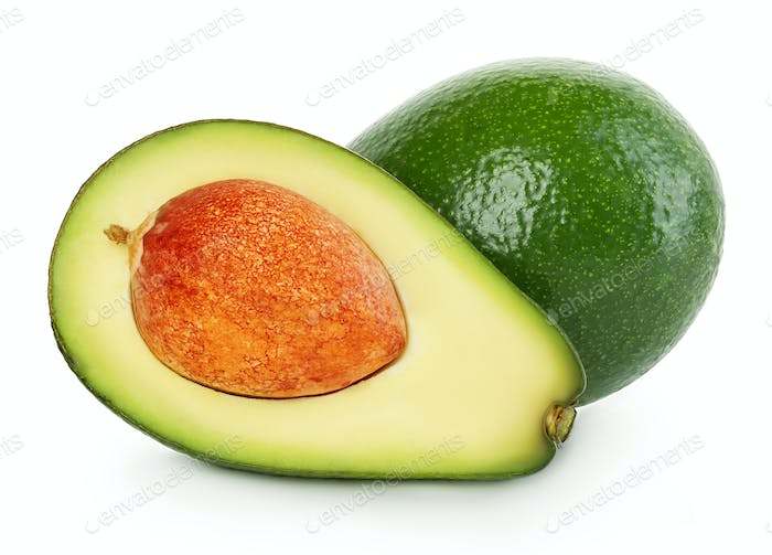 Fresh ripe avocado isolated on white background.