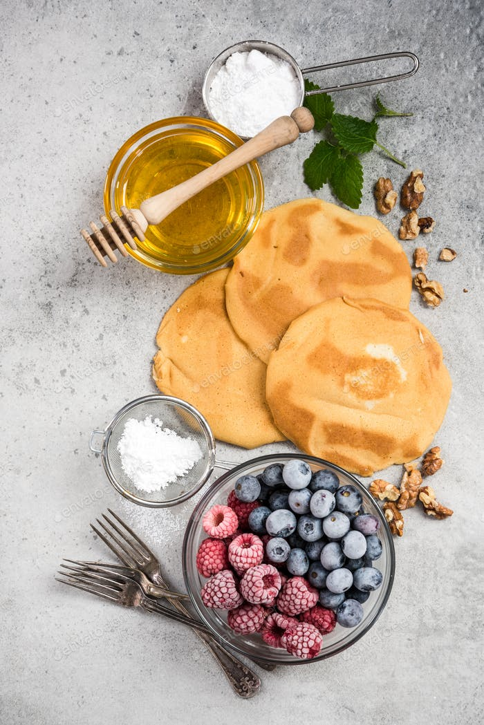 Recipe for perfect pancakes, border background