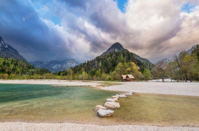 Emerald mountain lake in Slovenia