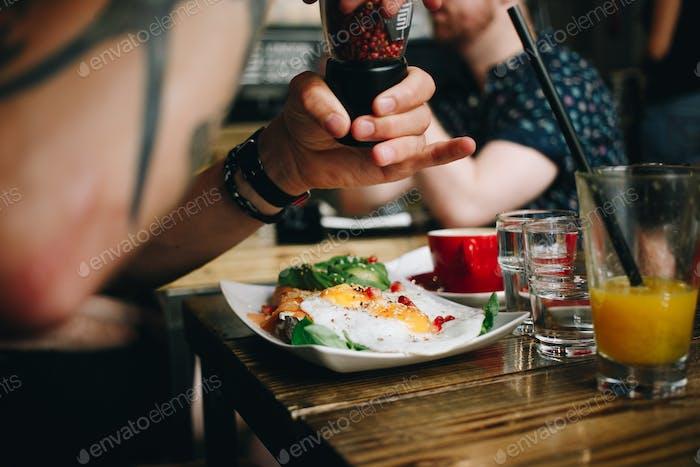 Egg breakfast brunch in trendy cafe