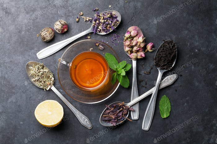 Thumbnail for Tea cup and assortment of dry tea in spoons