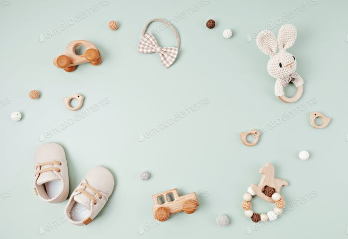 Baby shoes and teethers. Organic newborn accessories, branding, small business idea