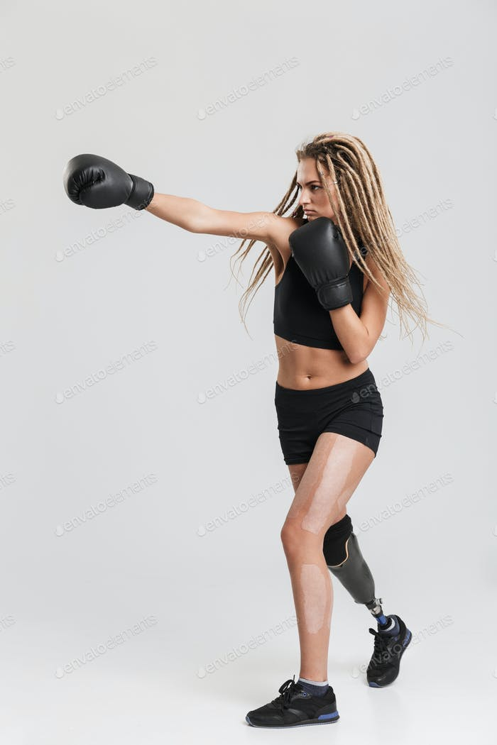 Healthy young disabled sportswoman boxer