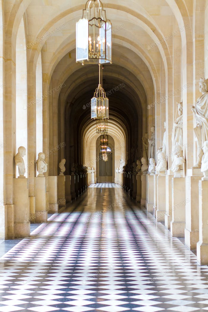 Interior hallway at the Palace of Versailles