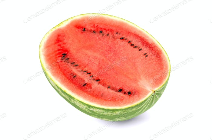 Sweet watermelon half, front view, on white background
