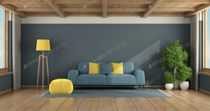 Blue living room with sofa and wooden ceiling