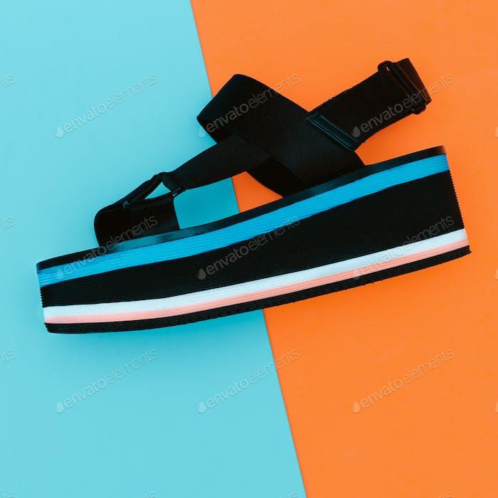 Trend summer style. Sandals with platform Minimal Design