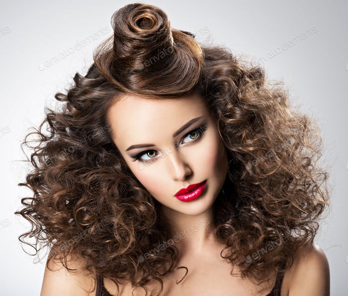 Beautiful woman with creative hairstyle.