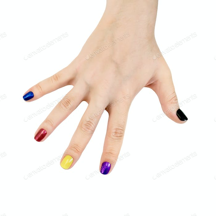 Fingers of female hands with colored lacquer