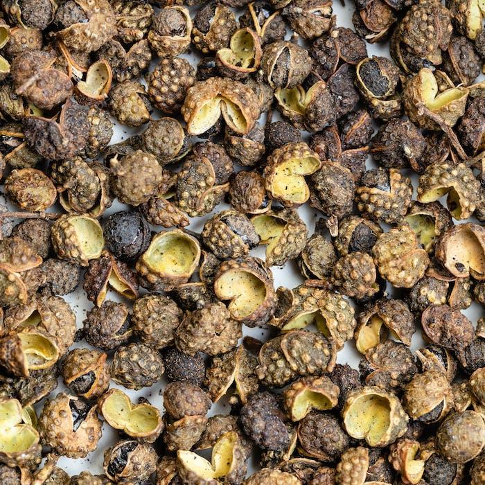 dried sichuan pepper peppercorns close up