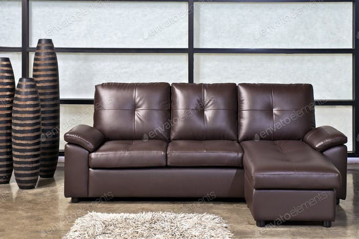 Leather sofa Brown Color with Stool