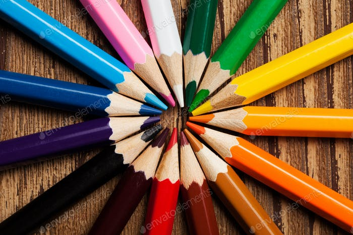 Many Different Colored Pencils. Close-Up Macro.