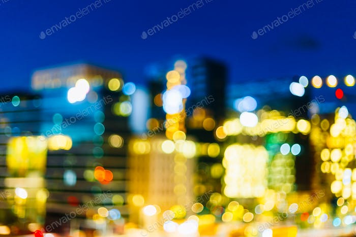 Colorful Bokeh Background With Defocused Lights In Oslo, Norway