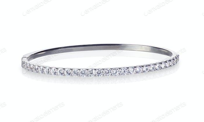 Diamant und Weißgold Silber Armreif Armband