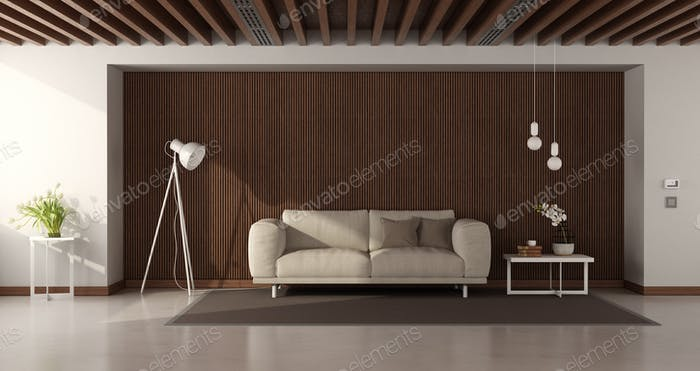 Modern living room with modern sofa against wooden paneling