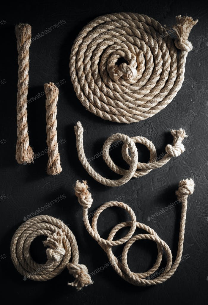 ship rope at old black background