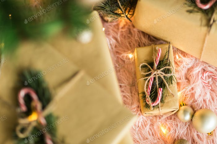 Christmas Holidays Decoration With Tree and Gifts