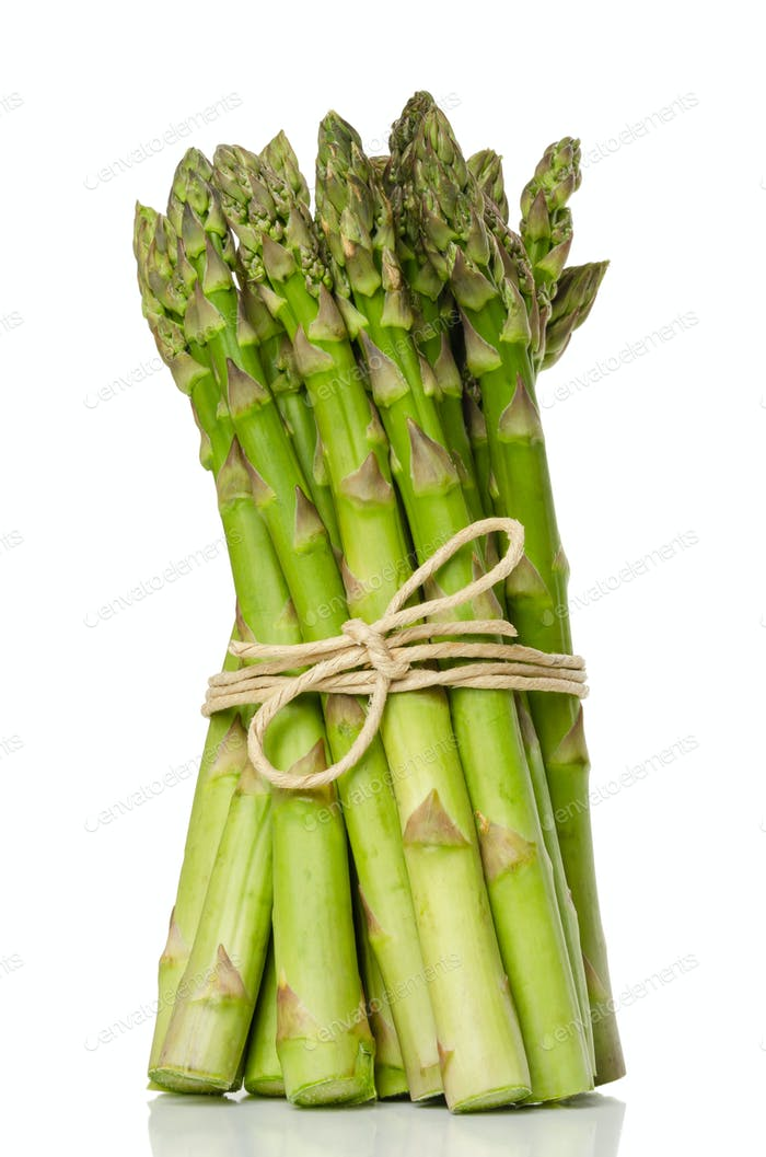 Bundle of green asparagus shoots, upright standing